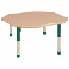 "48"" Clover T-Mold Activity Table, Maple/Maple/Green/Chunky"