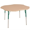 "48"" Clover T-Mold Activity Table, Maple/Maple/Green/Standard Swivel"