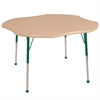 "48"" Clover T-Mold Activity Table, Maple/Maple/Green/Toddler Ball"