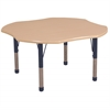"48"" Clover T-Mold Activity Table, Maple/Maple/Navy/Chunky"