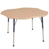 "48"" Clover T-Mold Activity Table, Maple/Maple/Navy/Toddler Ball"