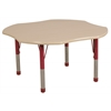 "48"" Clover T-Mold Activity Table, Maple/Maple/Red/Chunky"