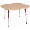 "48"" Clover T-Mold Activity Table, Maple/Maple/Red/Toddler Ball"