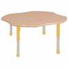 "48"" Clover T-Mold Activity Table, Maple/Maple/Yellow/Chunky"