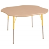 "48"" Clover T-Mold Activity Table, Maple/Maple/Yellow/Standard Swivel"
