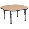 "ECR4Kids 48"" Clover Table Maple/Navy -Chunky"