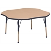 "48"" Clover T-Mold Activity Table, Maple/Navy/Standard Ball"