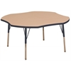 "48"" Clover T-Mold Activity Table, Maple/Navy/Standard Swivel"
