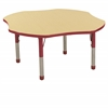 "ECR4Kids 48"" Clover Table Maple/Red -Chunky"