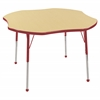 "ECR4Kids 48"" Clover Table Maple/Red -Standard Ball"