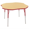 "48"" Clover T-Mold Activity Table, Maple/Red/Standard Swivel"