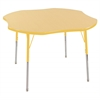"48"" Clover T-Mold Activity Table, Maple/Yellow/Standard Swivel"