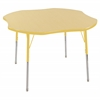 "ECR4Kids 48"" Clover Table Maple/Yellow-Toddler Swivel"