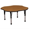 "48"" Clover T-Mold Activity Table, Oak/Black/Chunky"
