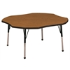 "48"" Clover T-Mold Activity Table, Oak/Black/Standard Ball"