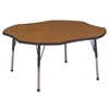 "48"" Clover T-Mold Activity Table, Oak/Navy/Standard Ball"