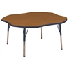 "48"" Clover T-Mold Activity Table, Oak/Navy/Standard Swivel"