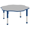 "60"" Flower T-Mold Activity Table, Grey/Blue/Chunky"
