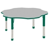 "60"" Flower T-Mold Activity Table, Grey/Green/Chunky"