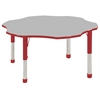 "60"" Flower T-Mold Activity Table, Grey/Red/Chunky"
