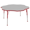 "60"" Flower T-Mold Activity Table, Grey/Red/Standard Ball"