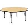 "60"" Flower T-Mold Activity Table, Maple/Black/Chunky"