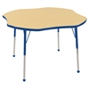 "60"" Flower T-Mold Activity Table, Maple/Blue/Standard Ball"