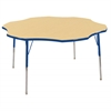 "60"" Flower T-Mold Activity Table, Maple/Blue/Standard Swivel"