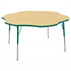"60"" Flower T-Mold Activity Table, Maple/Green/Standard Swivel"
