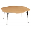 "60"" Flower T-Mold Activity Table, Maple/Maple/Black/Standard Ball"