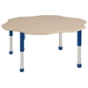 "60"" Flower T-Mold Activity Table, Maple/Maple/Blue/Chunky"