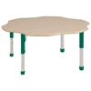 "60"" Flower T-Mold Activity Table, Maple/Maple/Green/Chunky"