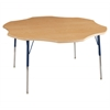 "60"" Flower T-Mold Activity Table, Maple/Maple/Navy/Standard Swivel"