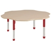 "60"" Flower T-Mold Activity Table, Maple/Maple/Red/Chunky"