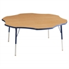 "60"" Flower T-Mold Activity Table, Maple/Navy/Standard Swivel"