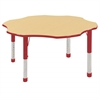 "60"" Flower T-Mold Activity Table, Maple/Red/Chunky"