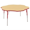 "60"" Flower T-Mold Activity Table, Maple/Red/Standard Swivel"