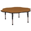 "60"" Flower T-Mold Activity Table, Oak/Black/Chunky"