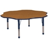 "60"" Flower T-Mold Activity Table, Oak/Navy/Chunky"