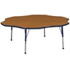 "60"" Flower T-Mold Activity Table, Oak/Navy/Standard Ball"