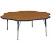 """60"""" Flower T-Mold Activity Table, Oak/Navy/Standard Swivel"""