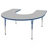 "60""x66"" Horseshoe T-Mold Activity Table, Grey/Blue/Standard Ball"