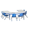 "60""x66"" Horseshoe T-Mold Activity Table, Grey/Blue/Toddler Ball"