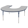 "60""x66"" Horseshoe T-Mold Activity Table, Grey/Navy/Standard Swivel"