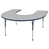 "60""x66"" Horseshoe T-Mold Activity Table, Grey/Navy/Toddler Ball"