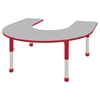 "60""x66"" Horseshoe T-Mold Activity Table, Grey/Red/Chunky"
