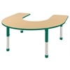"60""x66"" Horseshoe T-Mold Activity Table, Maple/Green/Chunky"