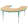 "60""x66"" Horseshoe T-Mold Activity Table, Maple/Green/Standard Swivel"