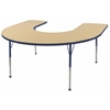 "60""x66"" Horseshoe T-Mold Activity Table, Maple/Navy/Toddler Ball"