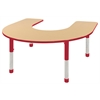 "60""x66"" Horseshoe T-Mold Activity Table, Maple/Red/Chunky"